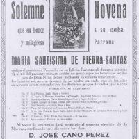 Cartel de Novena a la Virgen de Piedrasantas. Año 1945
