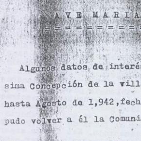 Escrito de la Abadesa del Convento de la Concepción, año 1942