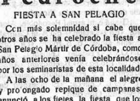 Celebración de San Pelagio en Pedroche. Año 1931