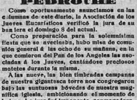 Asociación de los Jueves Eucarísticos de Pedroche. Año 1920