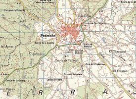 Pedroche en el mapa topográfico nacional (Instituto Geográfico Nacional), años 1891, 1934, 1955 y 2005