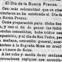 San Pedro, Día de la Buena Prensa, en Pedroche. Año 1921