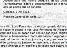 Comisión a Luis Fernández de Alcocer, año 1478