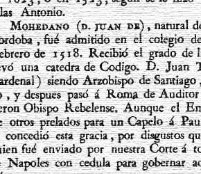 Juan de Mohedano. Biblioteca de los escritores que han sido individuos de los seis Colegios Mayores. Año 1805