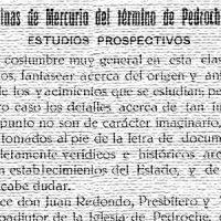 Minas de mercurio del término de Pedroche. Año 1930 y 1931