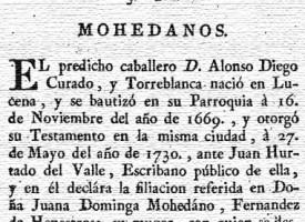 Mohedanos. Exposición Genealogía y Cronología de los Caballeros Curados de Lucena, por Josef Joachin Triano. Año 1783