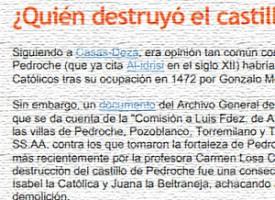 ¿Quién destruyó el castillo de Pedroche?, por Antonio Merino Madrid. Año 2007