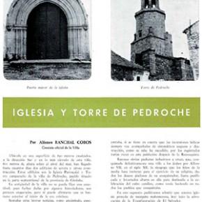 """""""Iglesia y Torre de Pedroche"""", por Alfonso Ranchal Cobos. Año 1968"""